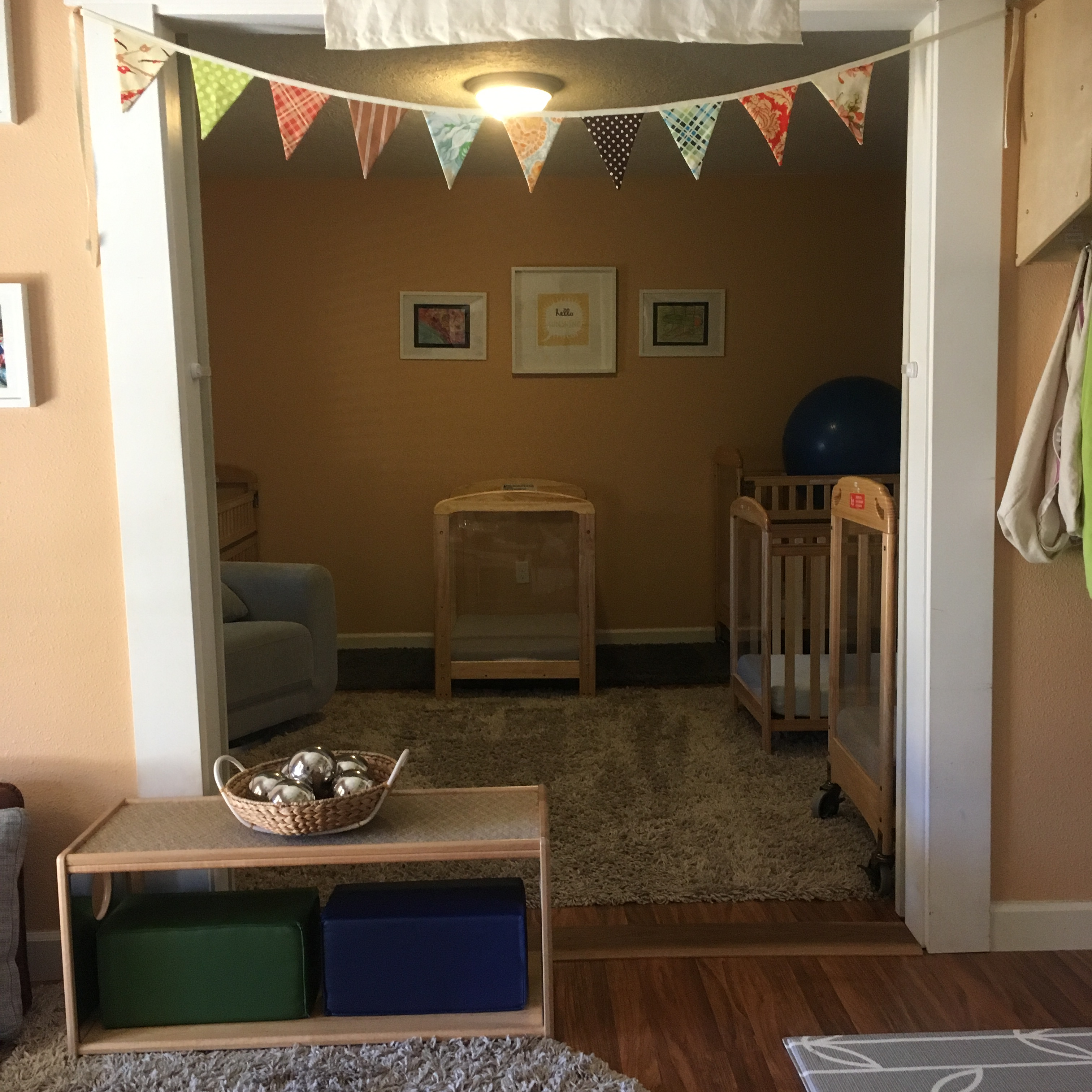 Baby room looking into baby napping space